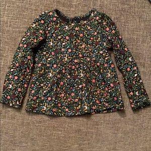 AG Floral Peplum Long Sleeve Shirt - 100% cotton